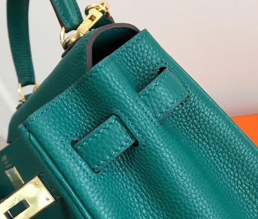 Hermes Kelly Danse 20312 Designer Tote Shoulder Strap Bag Dark Green - luxibagsmall