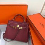 Hermes Kelly Danse 20314 Designer Tote Shoulder Strap Bag Wine Red - luxibagsmall