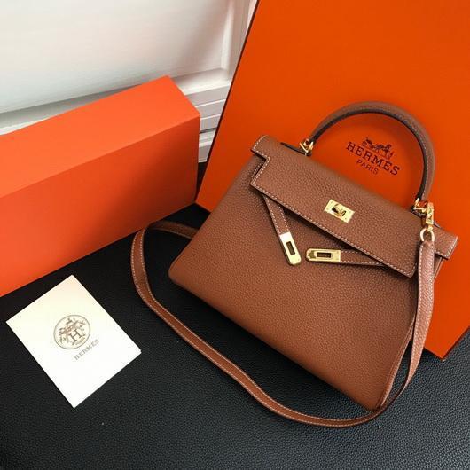 Hermes Kelly Danse 20316 Designer Tote Shoulder Strap Bag Tan - luxibagsmall