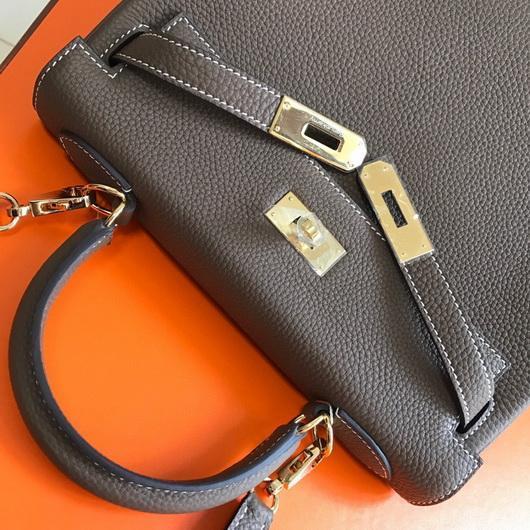 Hermes Kelly Danse 20317 Designer Tote Shoulder Strap Bag Dark Gray - luxibagsmall