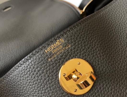 Hermes Lindy 26cm Designer Tote Shoulder Bags Gray Gold - luxibagsmall
