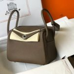 Hermes Lindy 26cm Designer Tote Shoulder Bags Gray Silver - luxibagsmall