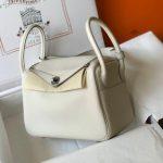 Hermes Lindy 26cm Designer Tote Shoulder Bags Wihte Silver - luxibagsmall