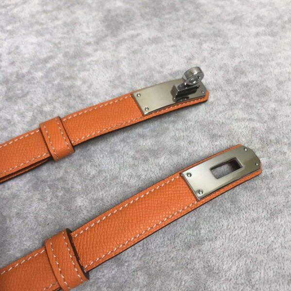 Hermes Women's Kelly Leather Belt 20MM 19019 Orange - luxibagsmall