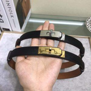 Hermes Women's Kelly Leather Belt 20MM 19019 Black - luxibagsmall