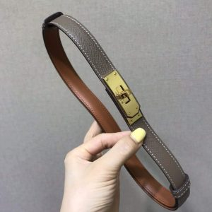 Hermes Women's Kelly Leather Belt 20MM 19019 Gray - luxibagsmall