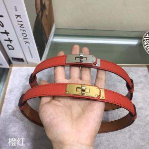Hermes Women's Kelly Leather Belt 20MM 19019 Orange Red - luxibagsmall