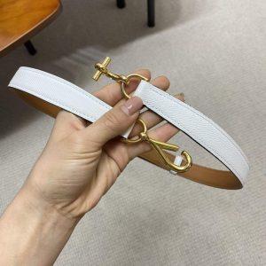 Hermes Women's Leather Belt 24MM 19022 White - luxibagsmall