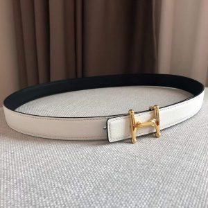 Hermes Women's Leather H Buckle Belt 24MM 19023 White - luxibagsmall