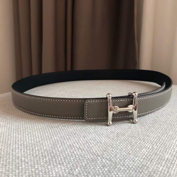 Hermes Women's Leather H Buckle Belt 24MM 19024 Gray - luxibagsmall