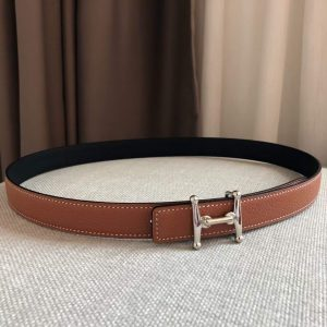 Hermes Women's Leather H Buckle Belt 24MM 19025 Brown - luxibagsmall