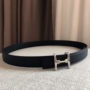 Hermes Women's Leather H Buckle Belt 24MM 19026 Black - luxibagsmall