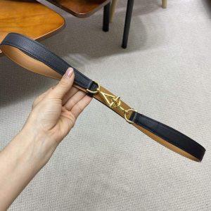 Hermes Women's Leather Belt 24MM 19021 Black - luxibagsmall
