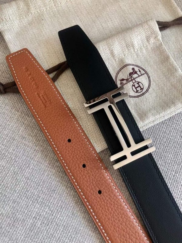 Hermes Women's Leather H Buckle Belt 32MM 19053 Tan - luxibagsmall