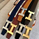 Hermes Women's Leather H Buckle Belt 32MM 19054 Navy Blue - luxibagsmall