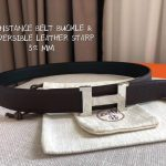Hermes Women's Leather H Buckle Belt 32MM 19057 Brown - luxibagsmall