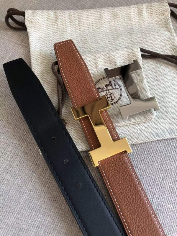 Hermes Women's Leather H Buckle Belt 32MM 19058 Tan - luxibagsmall