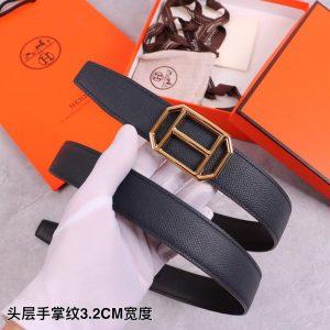 Hermes Women's Leather H Buckle Belt 32MM 19031 Black - luxibagsmall
