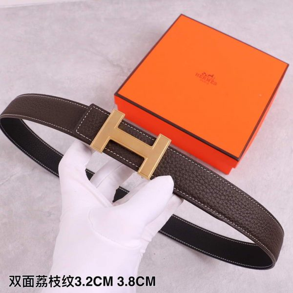 Hermes Women's Leather H Buckle Belt 32MM 19032 Brown - luxibagsmall