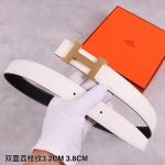 Hermes Women's Leather H Buckle Belt 32MM 19033 White - luxibagsmall