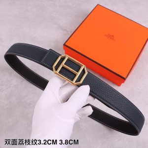 Hermes Women's Leather H Buckle Belt 32MM 19034 Navy Blue - luxibagsmall