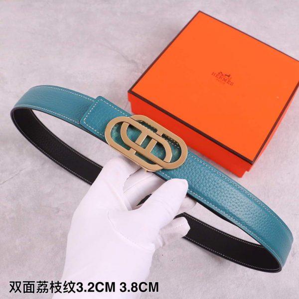 Hermes Women's Leather Belt 32MM 19035 Blue - luxibagsmall