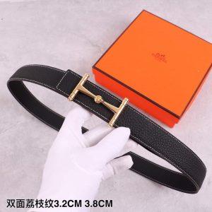 Hermes Women's Leather H Buckle Belt 32MM 19036 Black - luxibagsmall