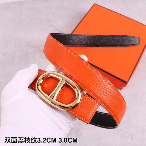 Hermes Women's Leather Belt 32MM 19037 Orange - luxibagsmall