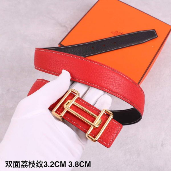 Hermes Women's Leather Belt 32MM 19038 Red - luxibagsmall