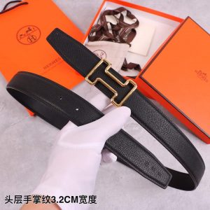 Hermes Women's Leather H Buckle Belt 32MM 19028 Black - luxibagsmall