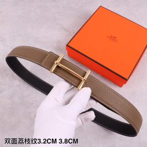 Hermes Women's Leather H Buckle Belt 32MM 19039 Brown - luxibagsmall