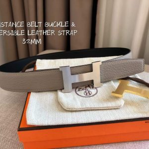 Hermes Women's Leather H Buckle Belt 32MM 19040 Gray - luxibagsmall