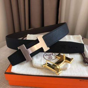 Hermes Women's Leather H Buckle Belt 32MM 19042 Black - luxibagsmall