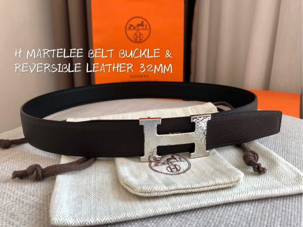 Hermes Women's Leather H Buckle Belt 32MM 19045 Coffee - luxibagsmall