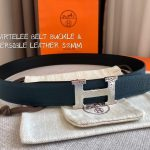Hermes Women's Leather H Buckle Belt 32MM 19046 Navy Blue - luxibagsmall