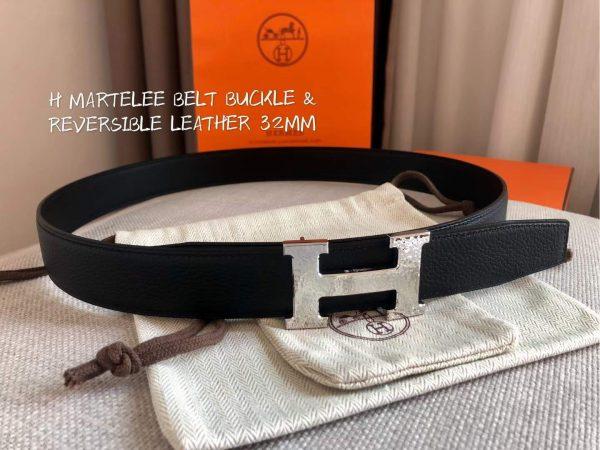 Hermes Women's Leather H Buckle Belt 32MM 19048 Black - luxibagsmall