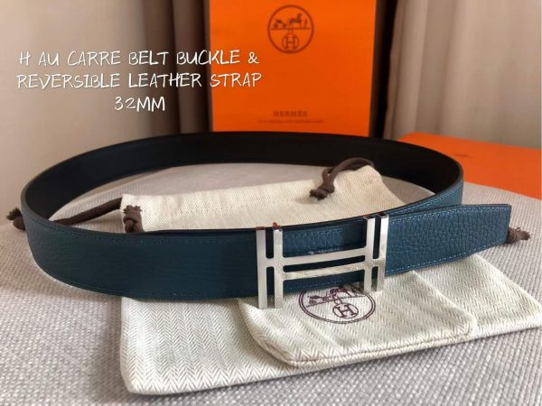 Hermes Women's Leather H Buckle Belt 32MM 19050 Navy Blue - luxibagsmall