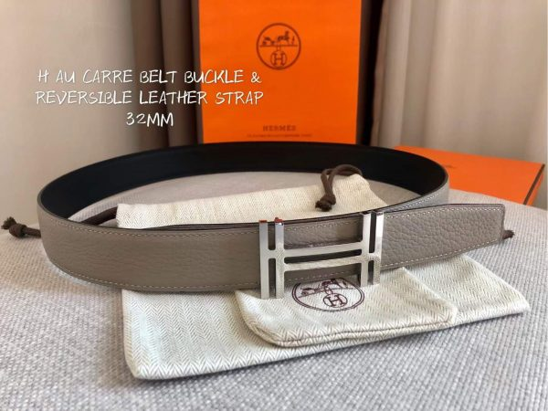 Hermes Women's Leather H Buckle Belt 32MM 19051 Gray - luxibagsmall