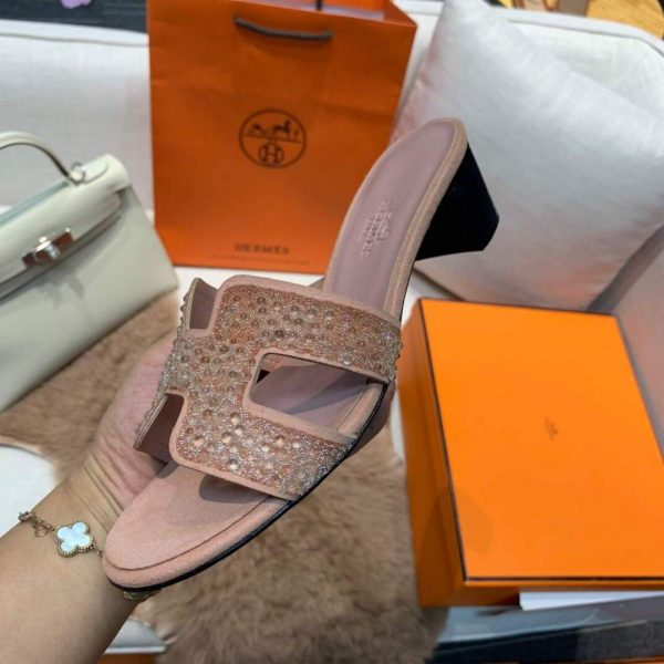 Hermes Women's Oasis Leather Sandal Pink 81154 - luxibagsmall