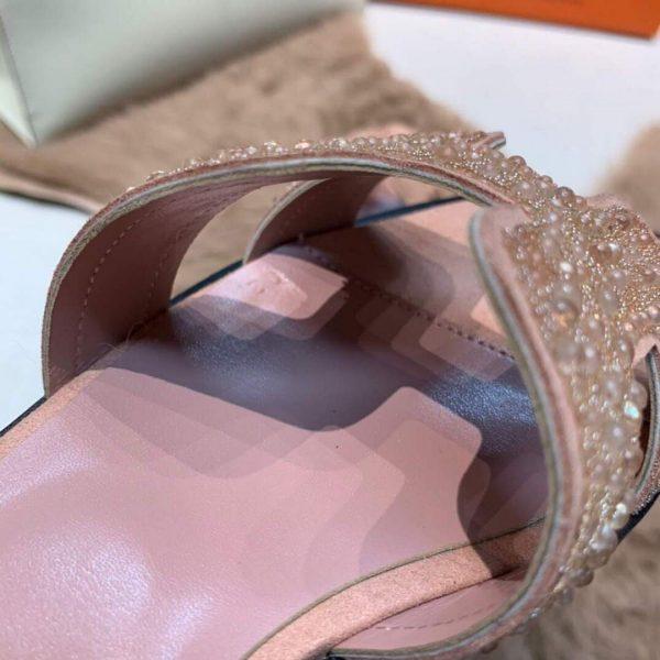 Hermes Women's Oran Leather Sandal Pink 81151 - luxibagsmall