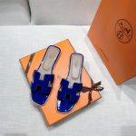 Hermes Women's Oran Leather Sandal Blue 81152 - luxibagsmall