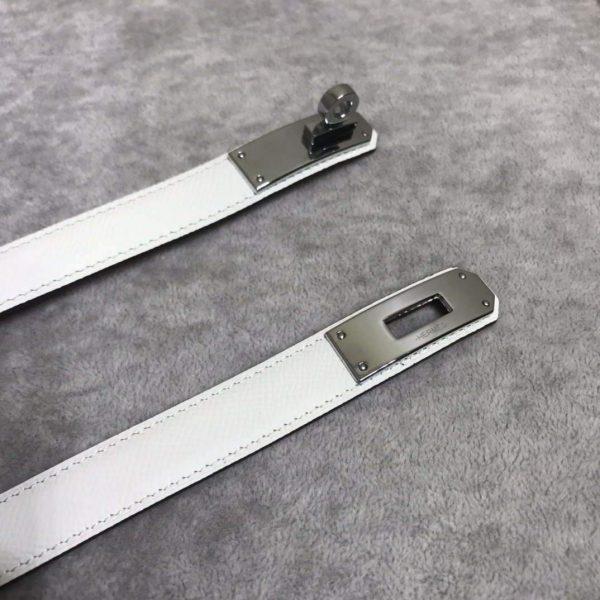Hermes Women's Kelly Leather Belt 20MM 19019 White - luxibagsmall