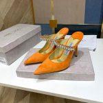 Jimmy Choo Women's Sandals BRESLIN Slippers 81150 Velvet Leather Orange - Voguebags