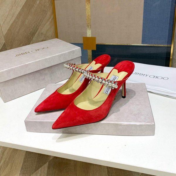 Jimmy Choo Women's Sandals BRESLIN Slippers 81150 Velvet Leather Red - Voguebags