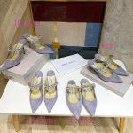 Jimmy Choo Women's Sandals BRESLIN Slippers 81150 Velvet Leather Light purple - Voguebags