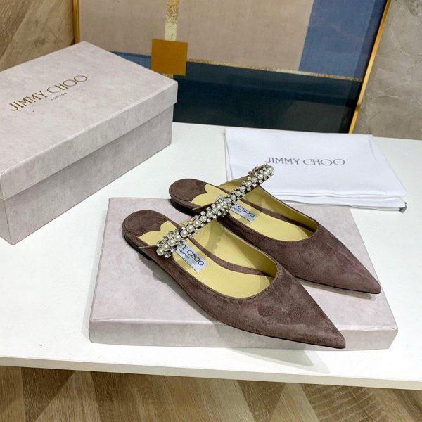 Jimmy Choo Women's Sandals BRESLIN Slippers 81150 Velvet Leather Brown - Voguebags