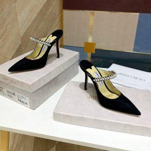 Jimmy Choo Women's Sandals BRESLIN Slippers 81150 Velvet Leather Black - Voguebags
