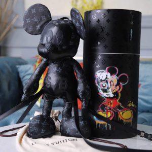 LV Louis Vuitton X Mickey Mouse Plush Thing Bag Monogram Black - luxibagsmall