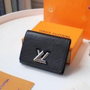 LV M64414 Louis Vuitton Twist Compact Wallet Epi Leather Black - luxibagsmall