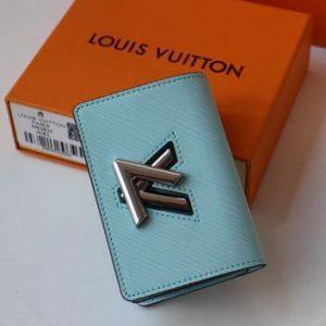 LV M68682 Louis Vuitton Twist Multicartes Wallet Epi Leather Light Blue - luxibagsmall